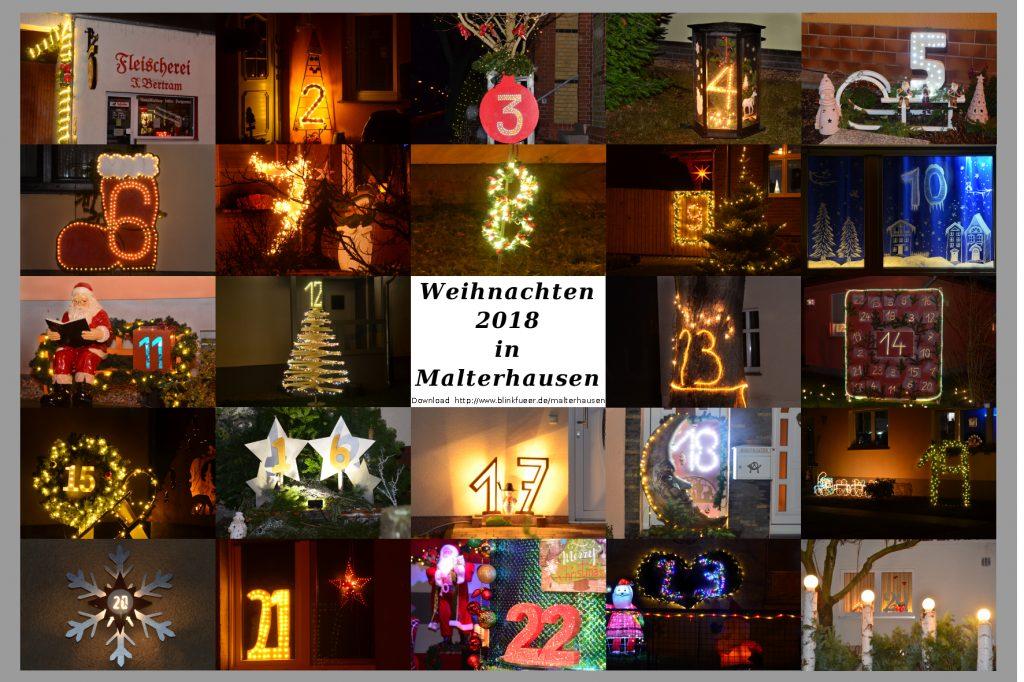 Leuchtender Weihnachtskalender Malterhausen 2018